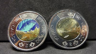 2017 CANADA SPECIAL EDITION Two Dollar coins Colored  & non-Colored  set of two