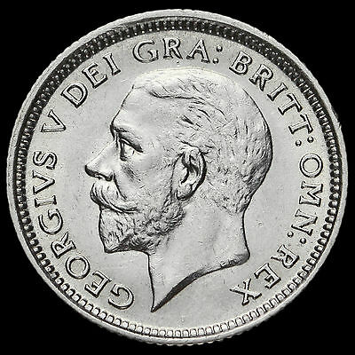 1927 George V Silver Sixpence, Modified Effigy, Scarce, A/UNC