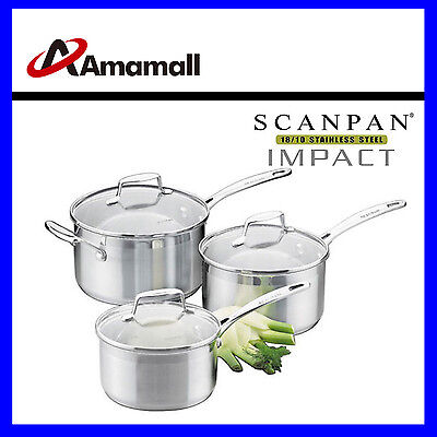 NEW Scanpan Impact 3PC Saucepan Set Stainless Steel Induction Kitchen Cookware