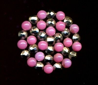 Antique Button…Rare PINK Riveted Glass Cabochons & Cut Steel