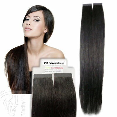 Tape In / On 100% Echthaar Remy Hair Extensions Haarverlängerung 2,5g Tresse #1B