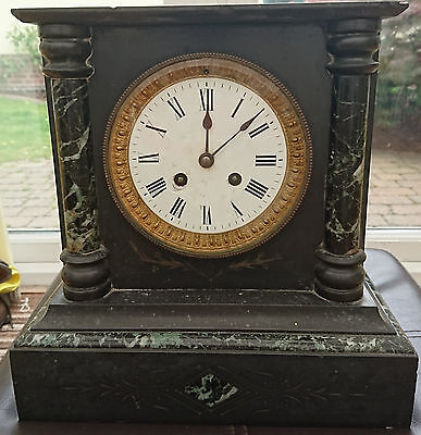Antique Slate and Marble Mantle Clock with hourly chime