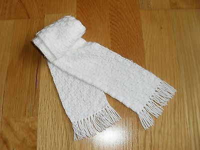 Baby boy/girl handmade white knitted scarf with fringes