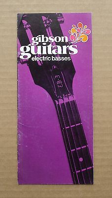 Vintage 1970 Gibson Guitars Brochure Pamphlet Electric Basses -- EB-1, EB-3