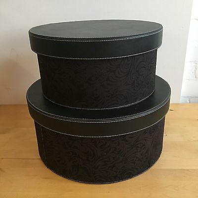 Two Round Hat Box with Pattern - LLT