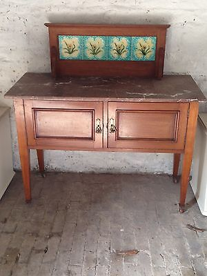 Antique Marble Topped Washstand with Tiles