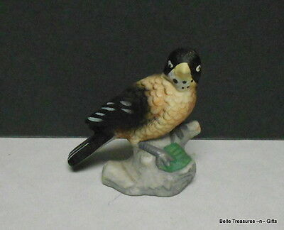 Porcelain Black & Tan Bird Figurine