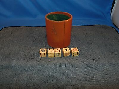 Vintage Poker Dice Set In Leather Cup