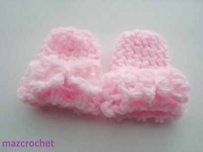 baby  mittens  baby pink crochet  baby pink crochet bows  hand made