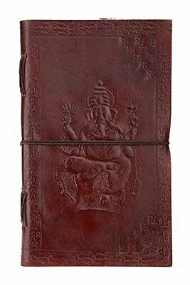 INDIARYGenuine Leather Writer´s Notebook Handmade Paper 9x5 Inch Embossed Gan...