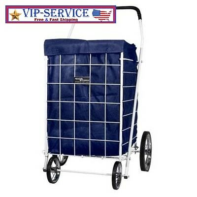 BEST Basket Folding Liner Laundry Grocery Trolley Portable Blue Out Shopping Car
