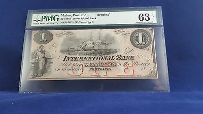 $1 1860's International Bank Note Maine, Portland PMG 63 EPQ CHUNC
