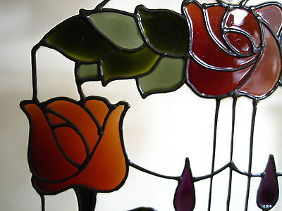 Pair of Hand painted  glass hanging panels.  Stained glass. Art Nouveau design.
