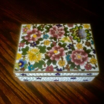 Antique Japanese Inaba Signed Enamel and Cloisonne Trinket Box Excellent!