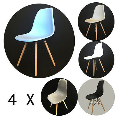 4x Design Chair, Seat Shell Plastic Beech Wood Retro Vintage Lounge Dining Room