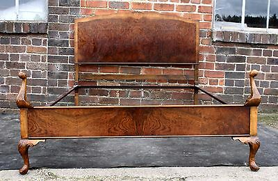 Magnificent Vintage walnut Queen Anne standard double bed 1930s