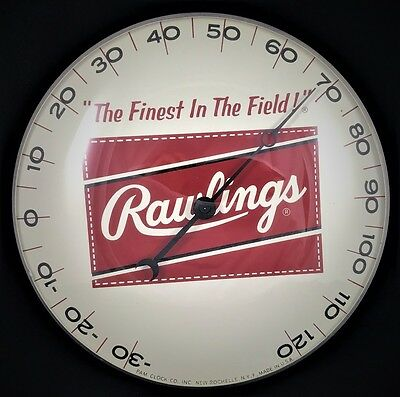 "1950's Rawlings Baseball Gloves 12"" Metal & Glass Pam Thermometer Sign ORIGINAL"