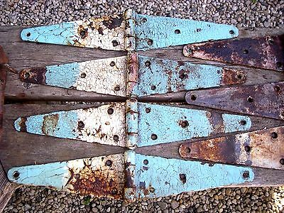 7-Old Vintage Barn Door Iron Hinges-16 Inches Long- Hardware Patina Thumb Handle