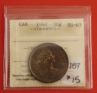 1967 Canada 50 Cent Silver Coin Fifty Half Dollar J87 - $15 ICCS MS-63