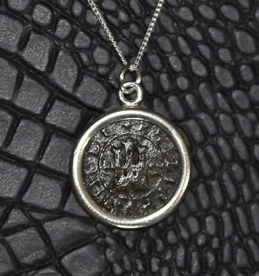 Authentic Spanish Colonial Pirate Copper Cob Coin 925 Sterling Silver Necklace