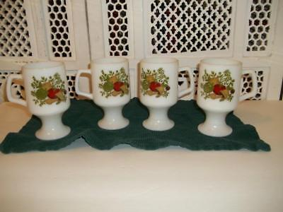 Vintage Lot Of 4 Corning Spice Of Life Footed Mugs