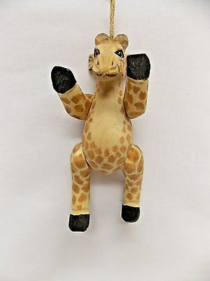 Giraffe Figurine Christmas Tree Ornament Moveable Arms & Legs 6 In Long Resin