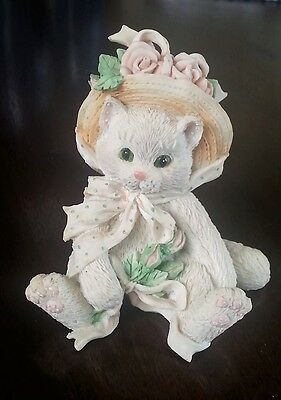 """Enesco Calico Kittens """"Our Friendship Blossomed From the Heart"""" Figurine 1992"""