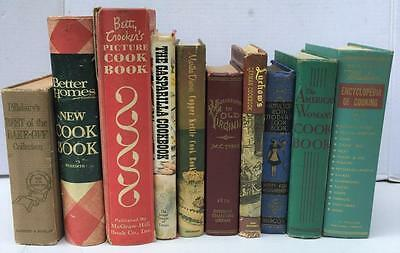 Lot of 10 Vintage Hardcover Cookbooks Betty Crocker's Luchows Antique Cook Books