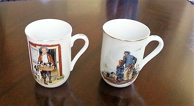 Vintage Norman Rockwell Museum Mugs Set of 2 - Puppy Love & Looking Out To Sea