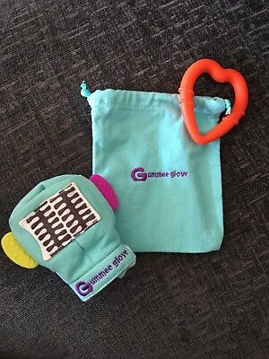 Turquoise gummee glove with silicone heart