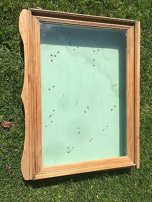 Hand Made Small Display Cabinet Wall Hanging Antique Pine Shaped Edging