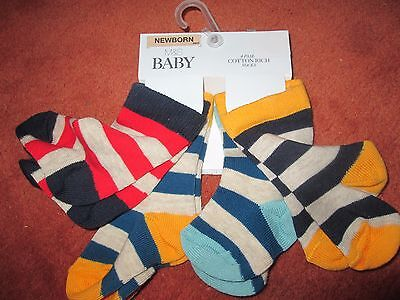 M&s Baby Boys Socks 4 Pairs New M&s Baby Cotton Rich Stripy Newborn,