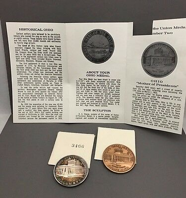 Ohio State Medals Set of 2 Silver and Bronze with original envelope and pamphlet