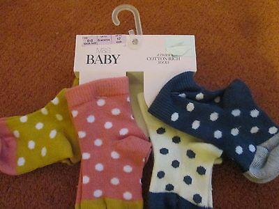 M&S BABY BOYS SOCKS 4 PAIRS NEW M&S BABY COTTON RICH STRIPY upto 6Months,