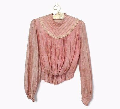 VTG VICTORIAN 1900s Pink Striped Silk Puff Sleeve Bodice Blouse XS