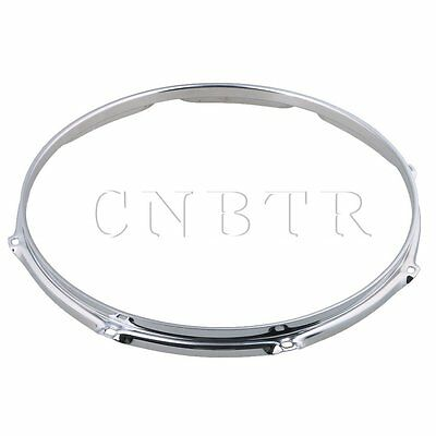 Silver 35.56x2.7cm Thick 2mm Dia 14 Inch 8 hole Steel Snare Drum Hoops