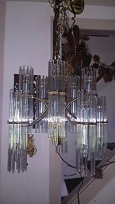 Gorgeous Vintage Glass Rod Chandelier by Lightolier