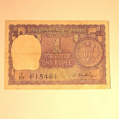 Antique~1966~INDIA~1 Rupee~Circulated~Lions~Paper Bill