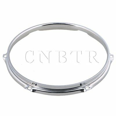 Silver 25.4x2.7cm Thick 2mm Dia 10 Inch 6 hole Steel Snare Drum Hoops