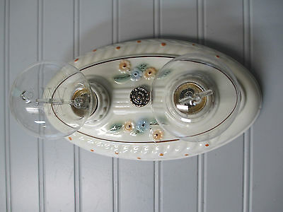 Vintage PORCELIER Art Deco Flush Mount Ceiling Light Fixture Ivory Two Light