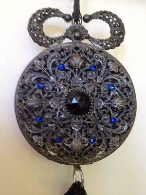 Vintage Shoulder Dance Purse With Onyx And Blue Rhinestones