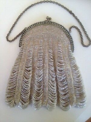 Vintage Dance Purse Beaded Swag With Rhinestone Frame