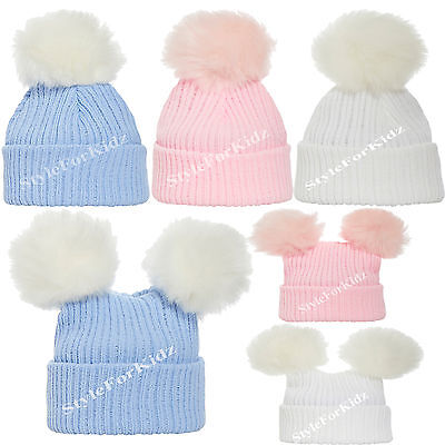 Baby Boys Girls Knitted Fur Pompom Hats Newborn Pink White Blue 0-3 Bobble Cap