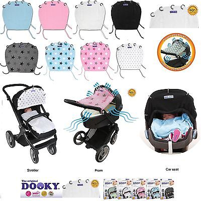 Dooky Buggy/Pram/Pushchair/Car Seat Sun Wind Shade Blind Cover SPF40+