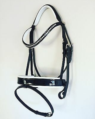 AGD Smooth Patent Bridle, Padded Reins (Black & White) PONY, HANOVERIAN