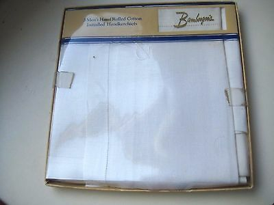 """VINTAGE ESTATE BAMBERGER'S 3 HAND ROLLED COTTON MEN'S HANKIES w/ INITIAL """"R"""" MIB"""