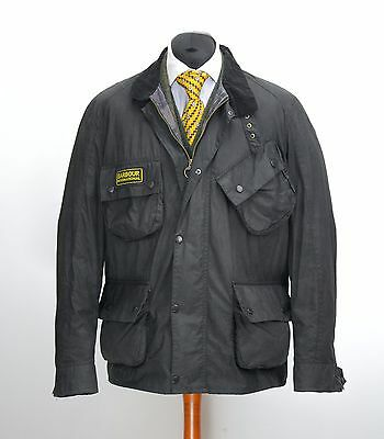 Mens Barbour International Flyweight Wax Jacket Black Size XL