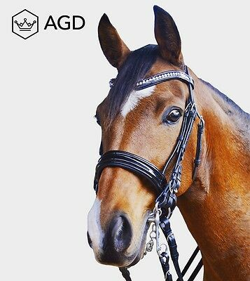 AGD Patent Dressage Weymouth Bridle,Austrian Crystals&Italian Leather Reins. COB