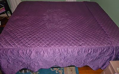 Vintage Satin Embroidered Bedspread Quilted Fitted Lilac Purple Amethyst Full