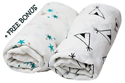 "Muslin Swaddle Blankets 2 Pack - 47""x 49"" - 100% Organic Cotton - Stylish Set..."